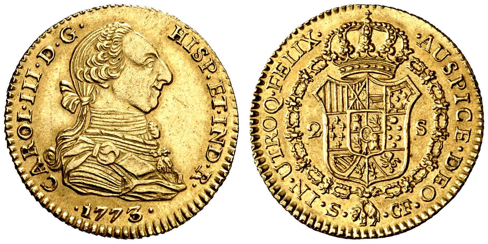 2 Escudos Carlos III año 1773 en oro  0129